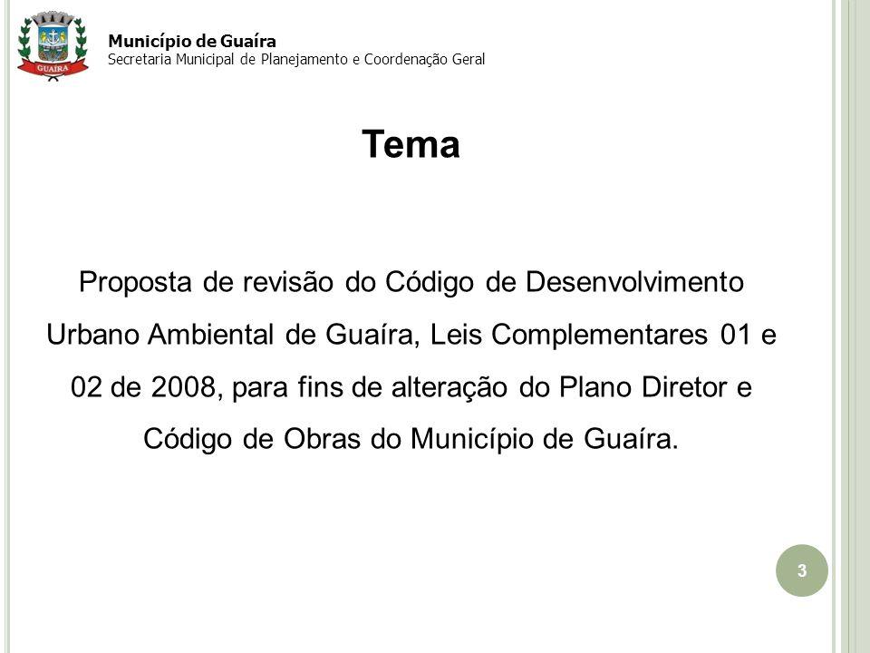 Município de Guaíra Secretaria Municipal de Planejamento e Coordenação Geral. Tema.