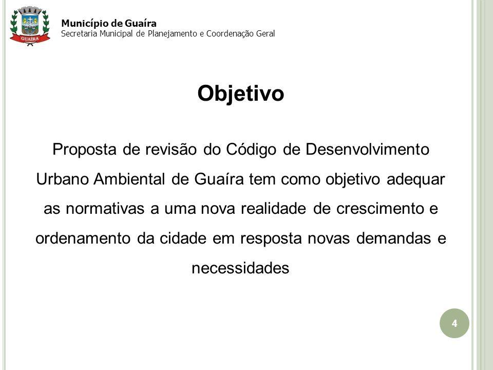 Município de Guaíra Secretaria Municipal de Planejamento e Coordenação Geral. Objetivo.