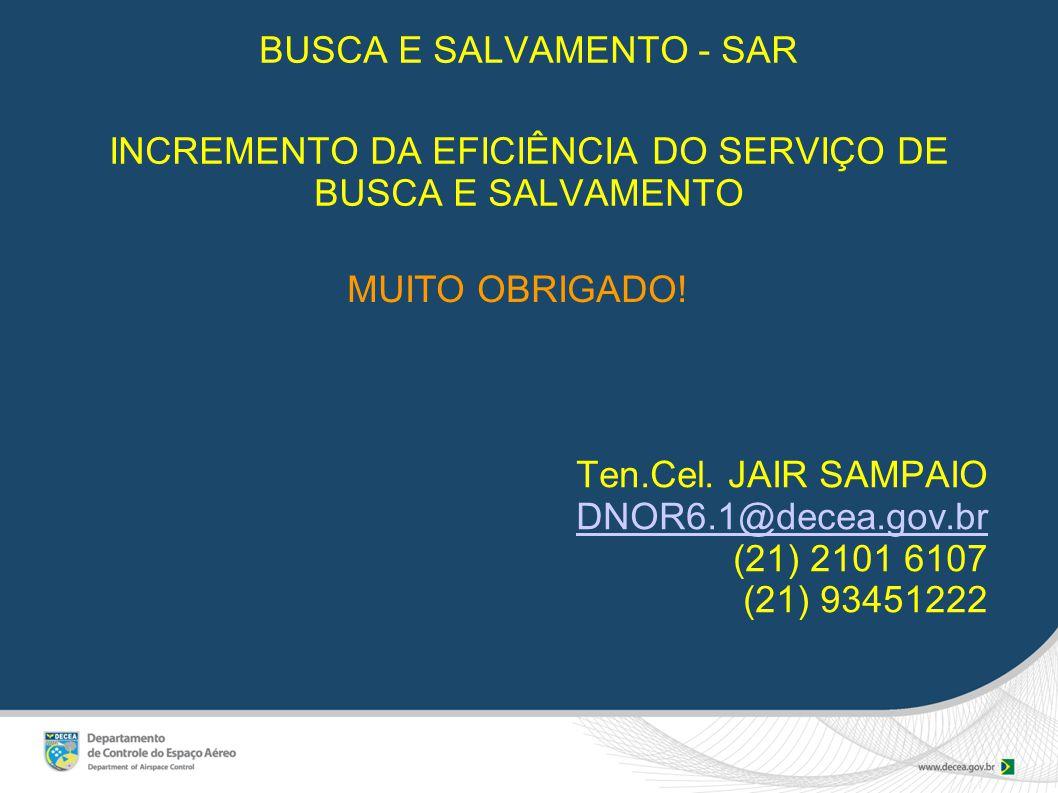 BUSCA E SALVAMENTO - SAR INCREMENTO DA EFICIÊNCIA DO SERVIÇO DE BUSCA E SALVAMENTO