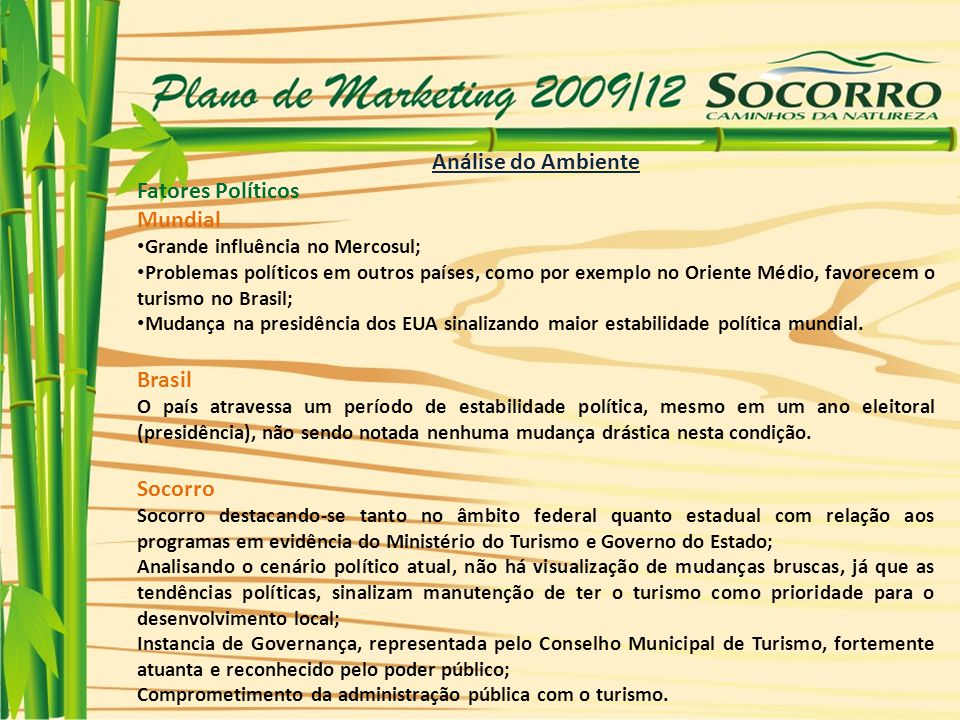 Análise do Ambiente Fatores Políticos Mundial Brasil Socorro