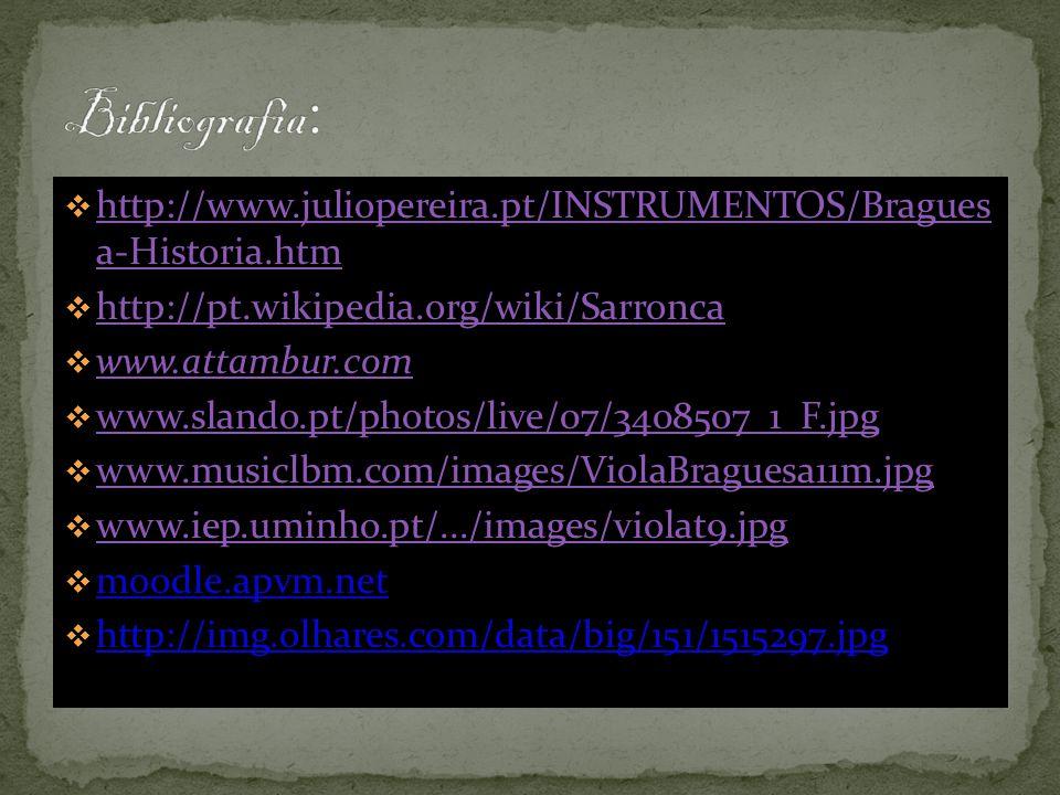 Bibliografia: http://www.juliopereira.pt/INSTRUMENTOS/Bragues a-Historia.htm. http://pt.wikipedia.org/wiki/Sarronca.