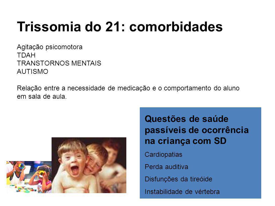 Trissomia do 21: comorbidades Agitação psicomotora TDAH TRANSTORNOS MENTAIS AUTISMO Relação entre a necessidade de medicação e o comportamento do aluno em sala de aula.