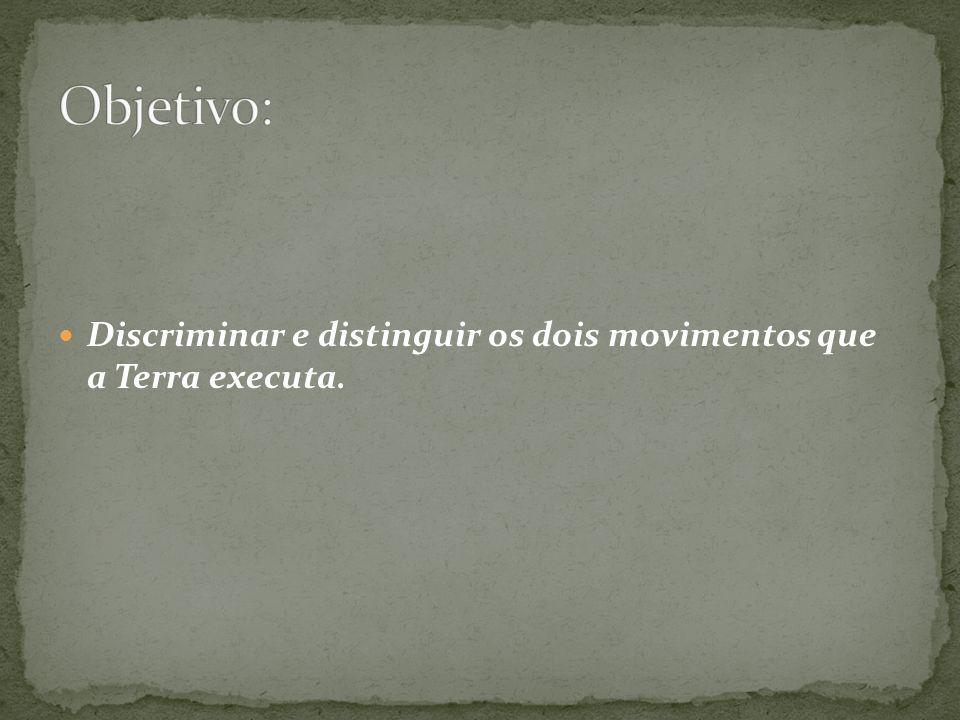 Objetivo: Discriminar e distinguir os dois movimentos que a Terra executa.