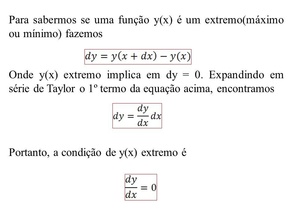Para sabermos se uma função y(x) é um extremo(máximo ou mínimo) fazemos
