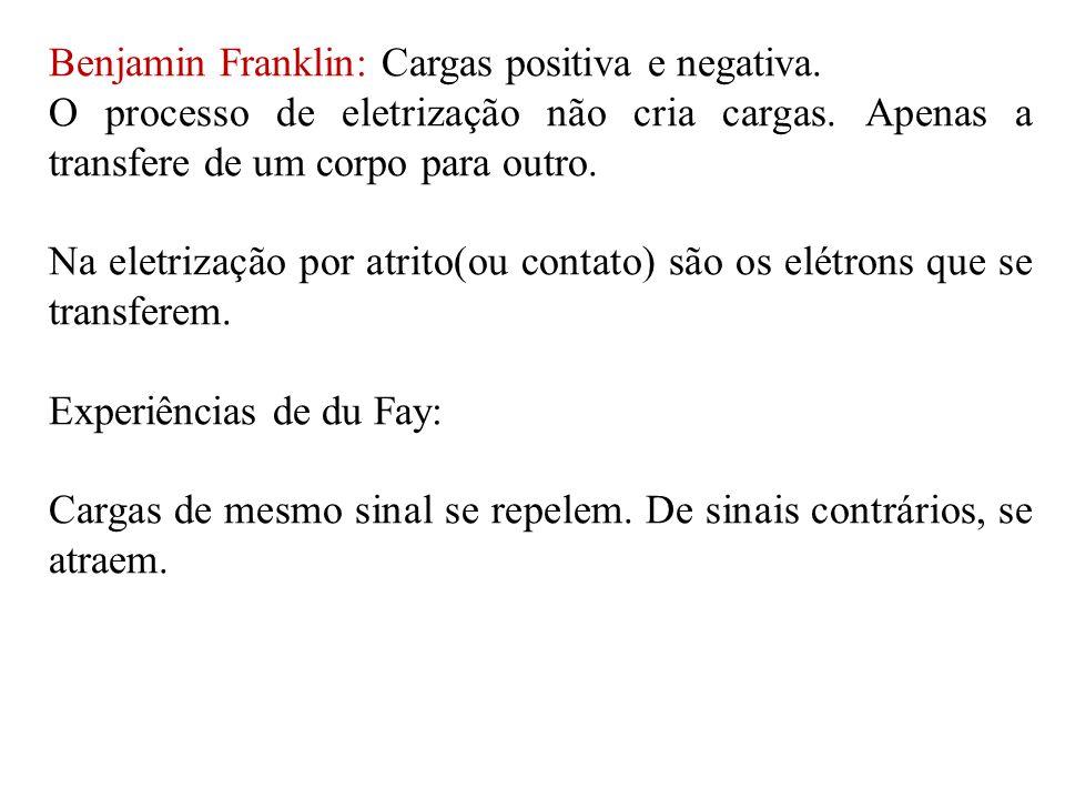 Benjamin Franklin: Cargas positiva e negativa.