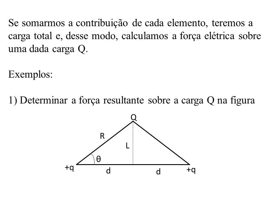 1) Determinar a força resultante sobre a carga Q na figura