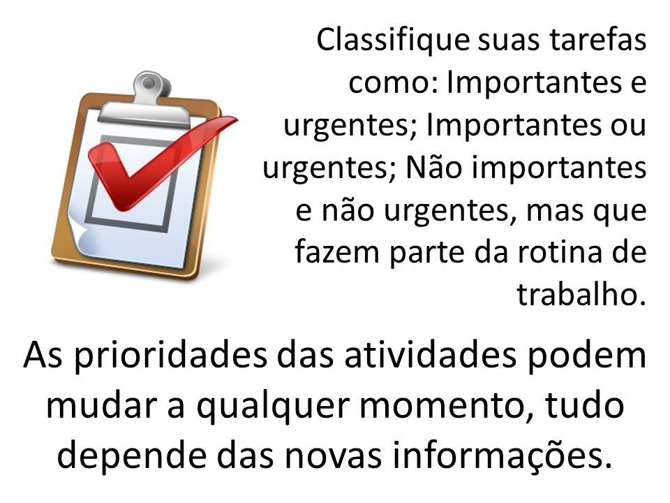 Classifique suas tarefas como: Importantes e urgentes; Importantes ou urgentes; Não importantes e não urgentes, mas que fazem parte da rotina de trabalho.