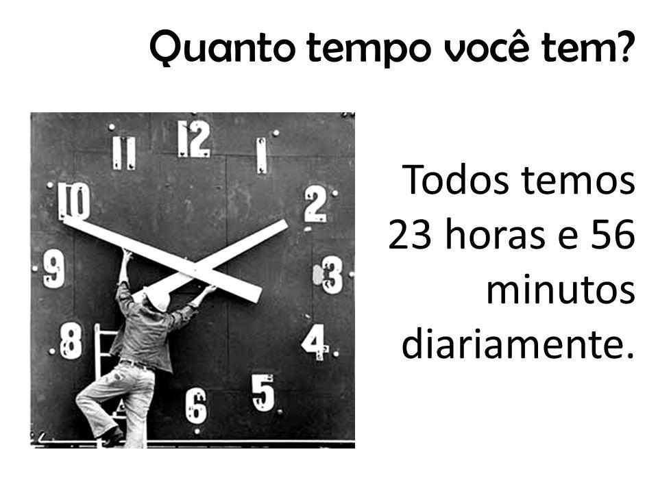 Quanto tempo você tem Todos temos 23 horas e 56 minutos diariamente.