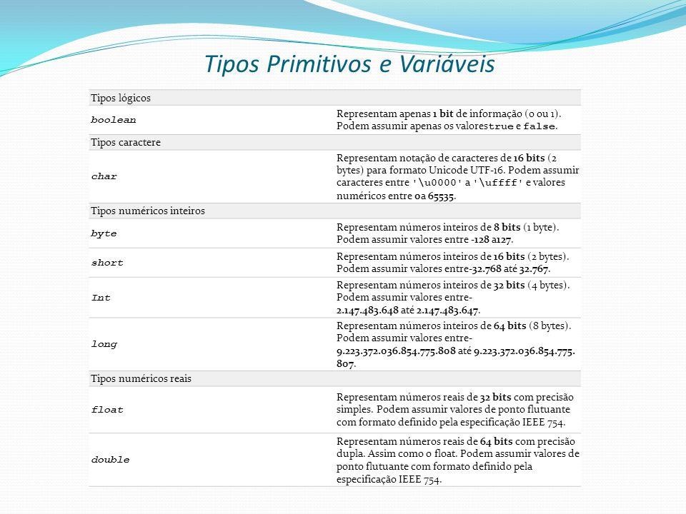 Tipos Primitivos e Variáveis