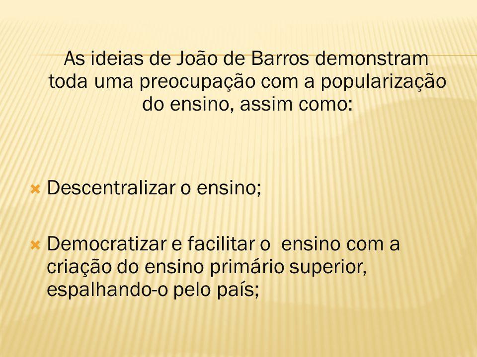 As ideias de João de Barros demonstram toda uma preocupação com a popularização do ensino, assim como: