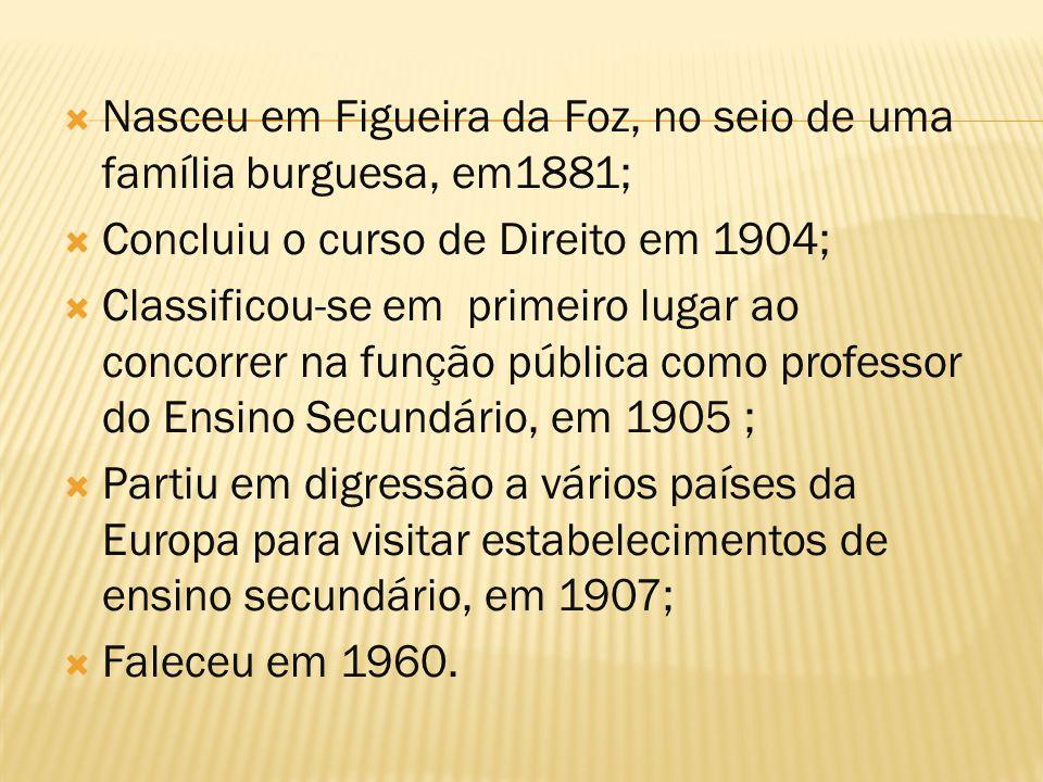 Nasceu em Figueira da Foz, no seio de uma família burguesa, em1881;