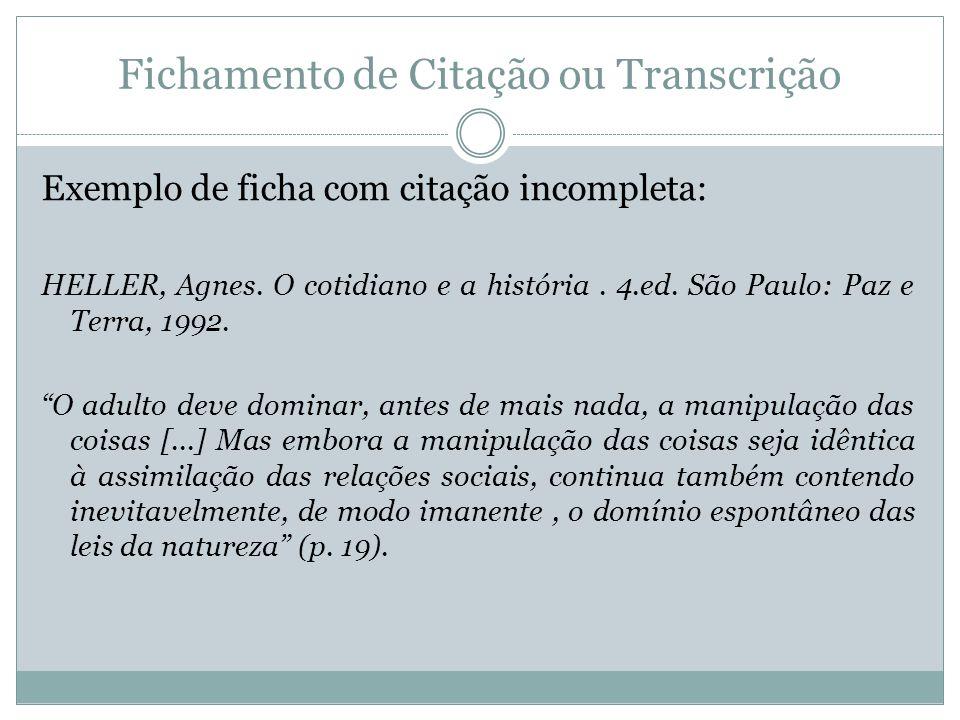 Fichamento de Citação ou Transcrição