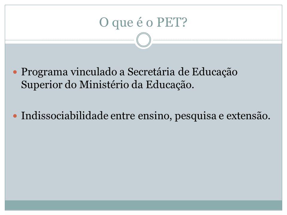 O que é o PET. Programa vinculado a Secretária de Educação Superior do Ministério da Educação.