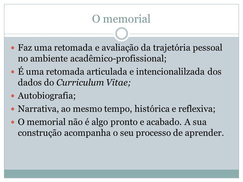 O memorial Faz uma retomada e avaliação da trajetória pessoal no ambiente acadêmico-profissional;