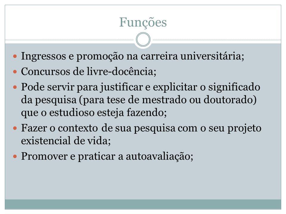 Funções Ingressos e promoção na carreira universitária;