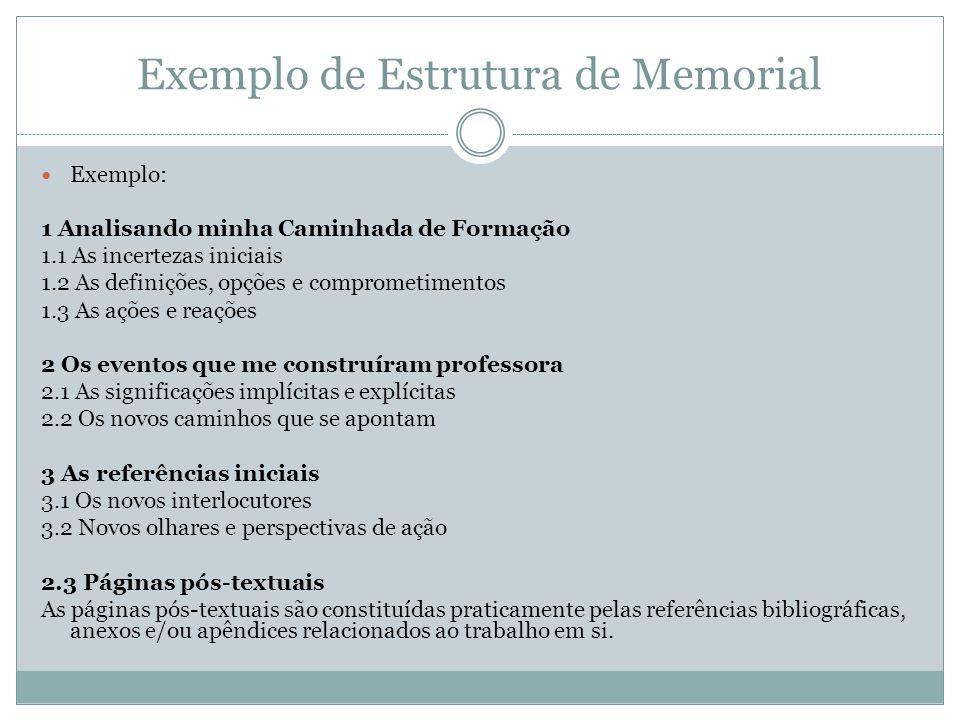 Exemplo de Estrutura de Memorial