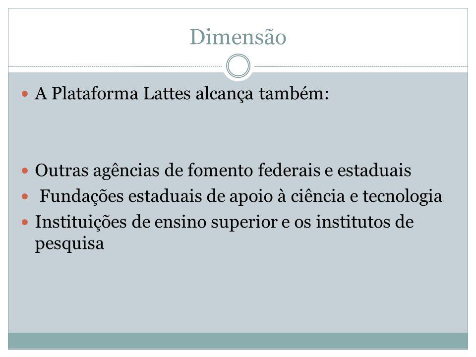 Dimensão A Plataforma Lattes alcança também: