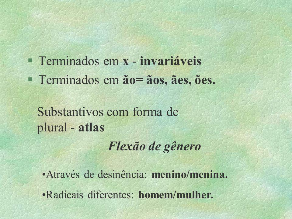 Terminados em x - invariáveis Terminados em ão= ãos, ães, ões.