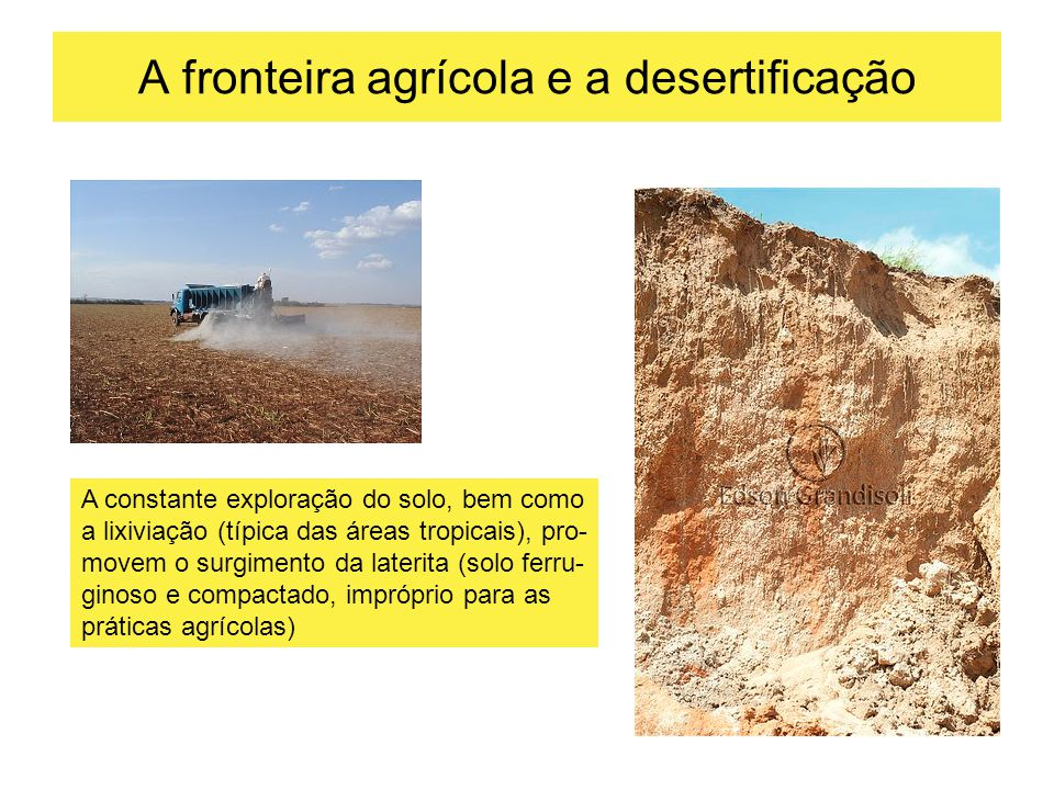 A fronteira agrícola e a desertificação
