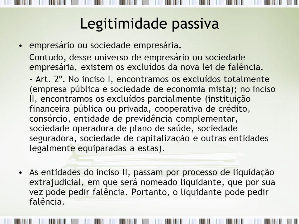 Legitimidade passiva empresário ou sociedade empresária.
