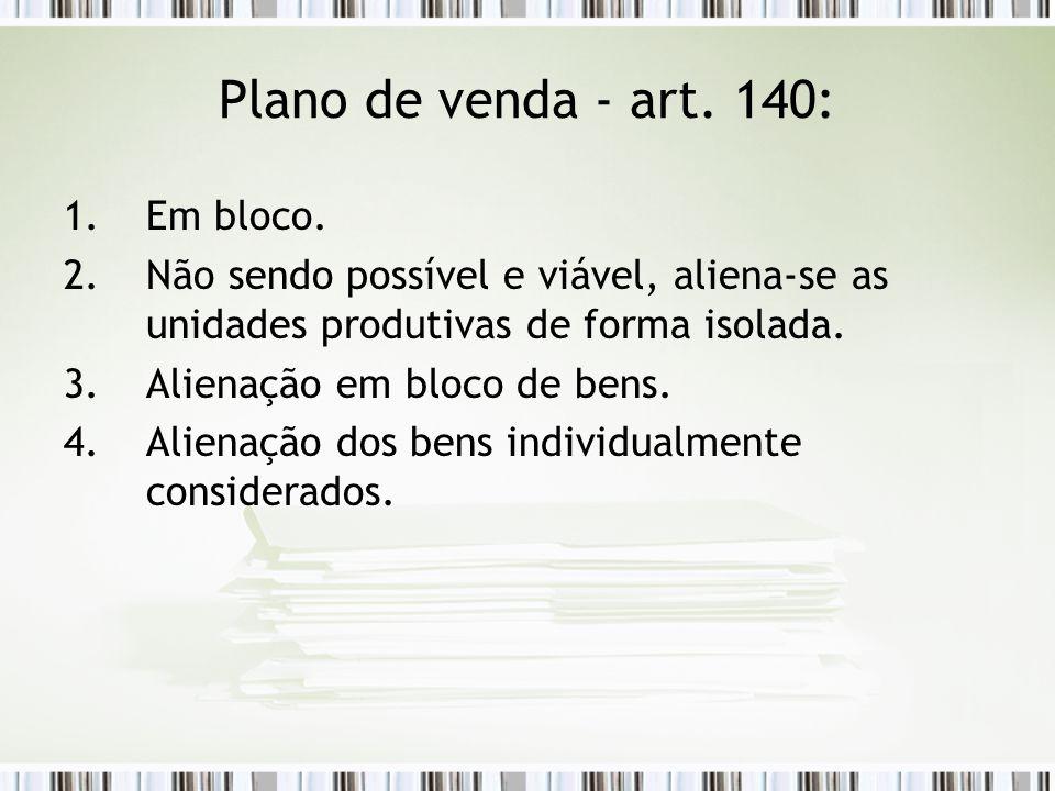 Plano de venda - art. 140: Em bloco.