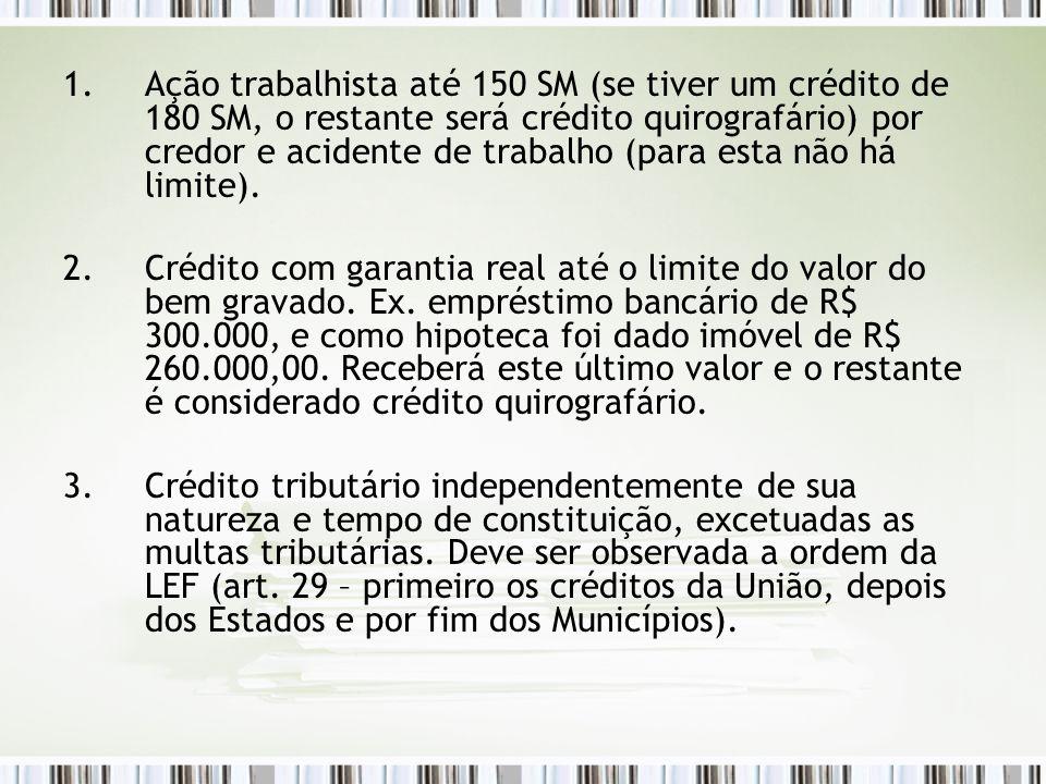 Ação trabalhista até 150 SM (se tiver um crédito de 180 SM, o restante será crédito quirografário) por credor e acidente de trabalho (para esta não há limite).