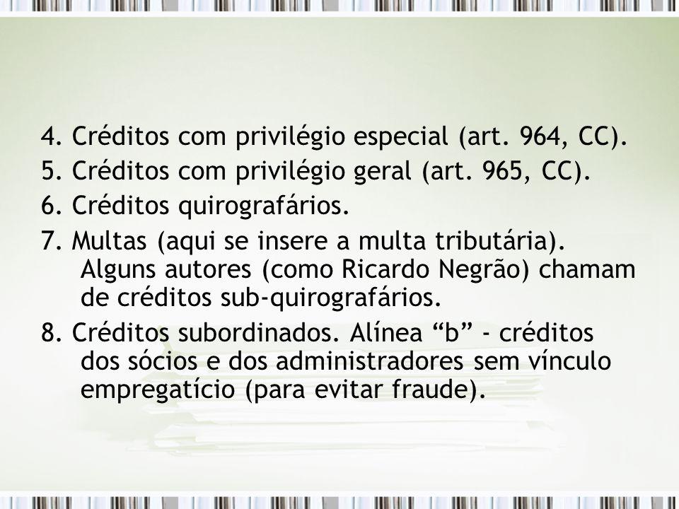 4. Créditos com privilégio especial (art. 964, CC).