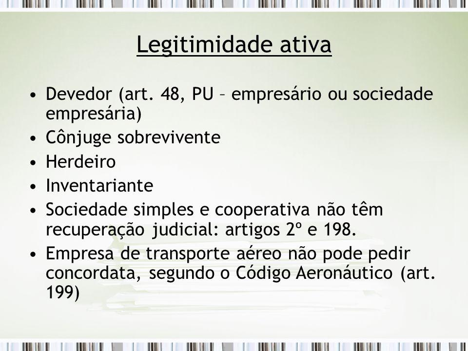 Legitimidade ativa Devedor (art. 48, PU – empresário ou sociedade empresária) Cônjuge sobrevivente.