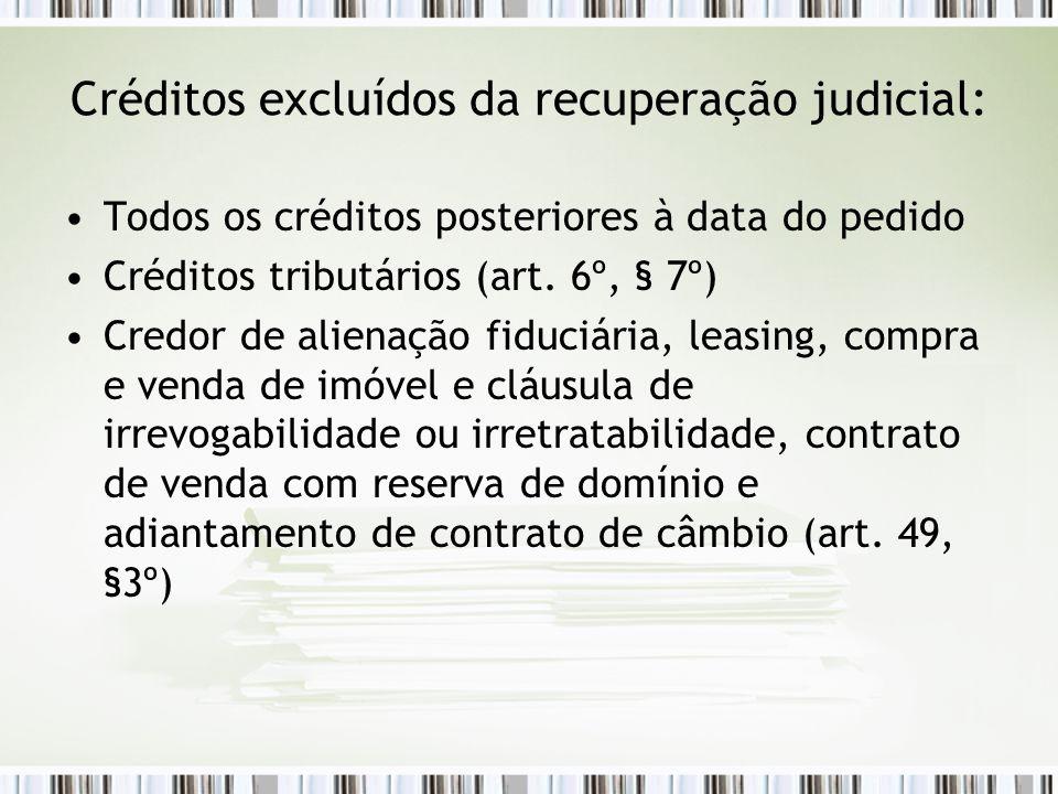 Créditos excluídos da recuperação judicial: