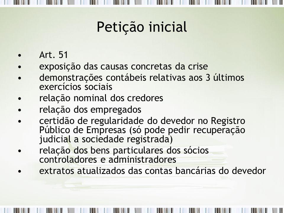 Petição inicial Art. 51 exposição das causas concretas da crise
