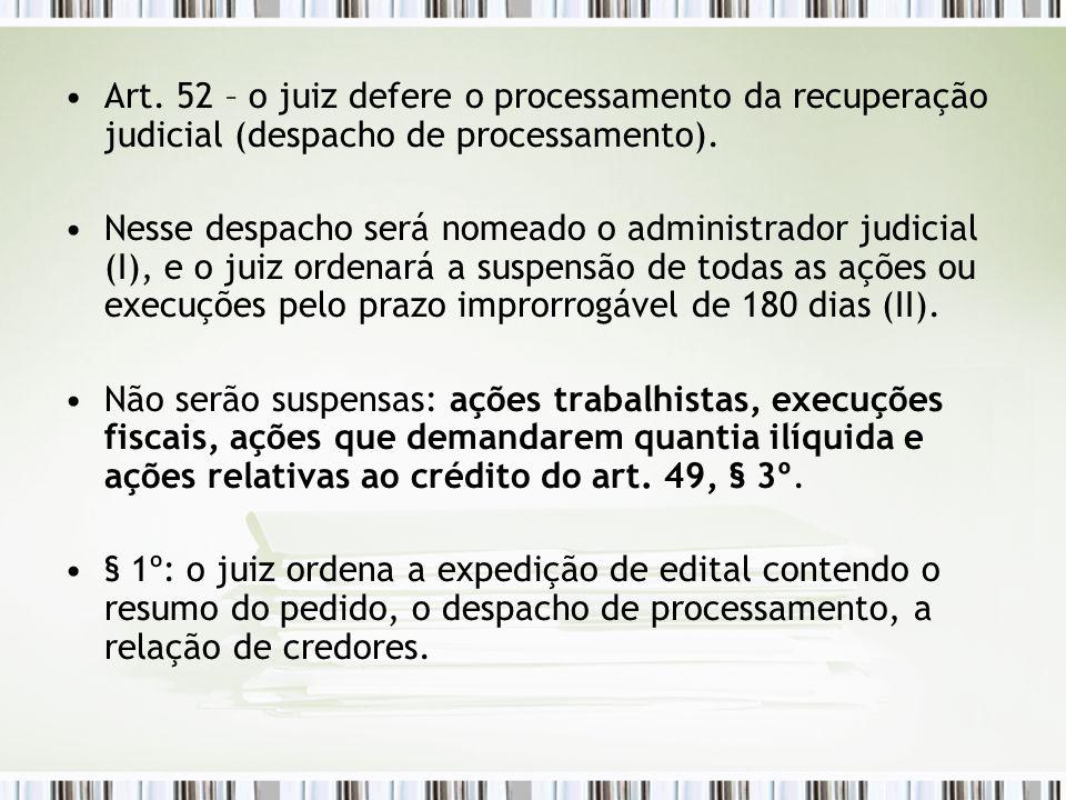Art. 52 – o juiz defere o processamento da recuperação judicial (despacho de processamento).