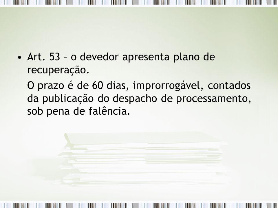 Art. 53 – o devedor apresenta plano de recuperação.