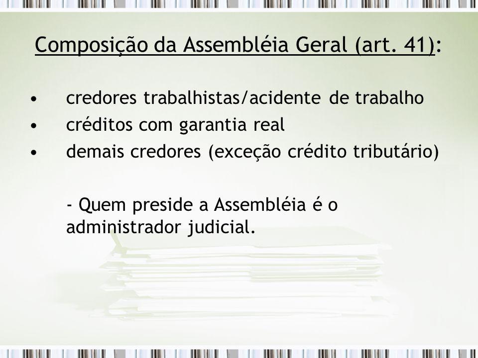 Composição da Assembléia Geral (art. 41):