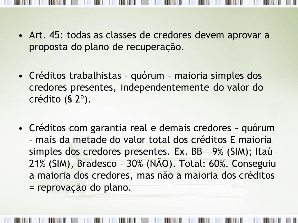Art. 45: todas as classes de credores devem aprovar a proposta do plano de recuperação.