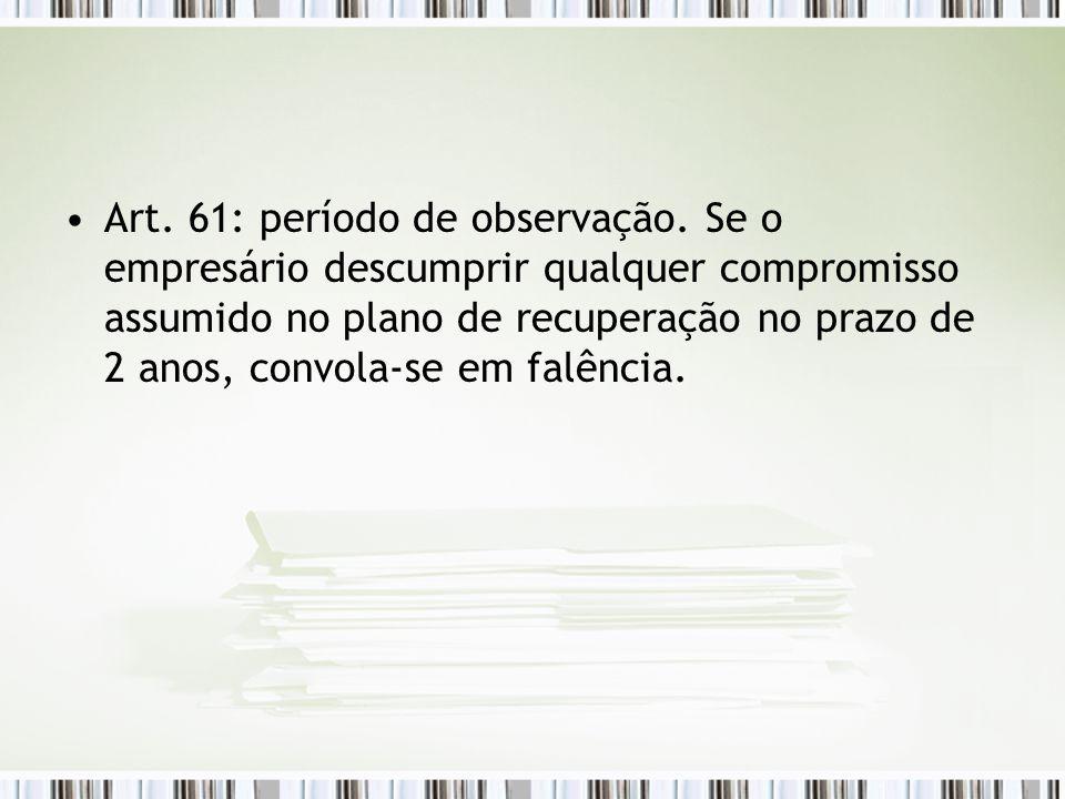 Art. 61: período de observação