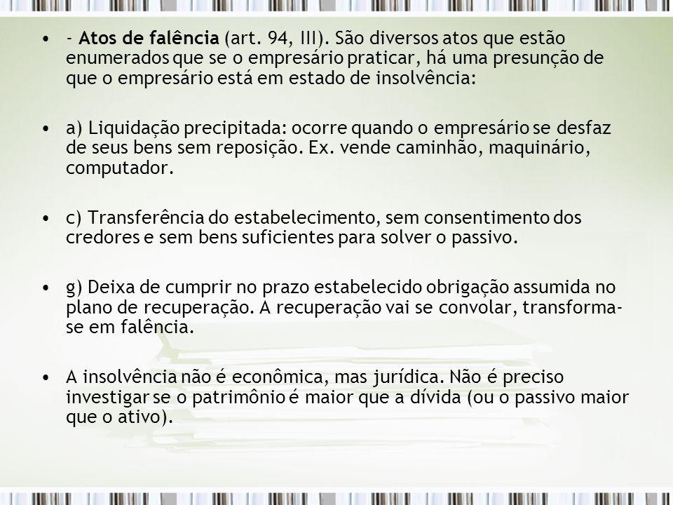 - Atos de falência (art. 94, III)