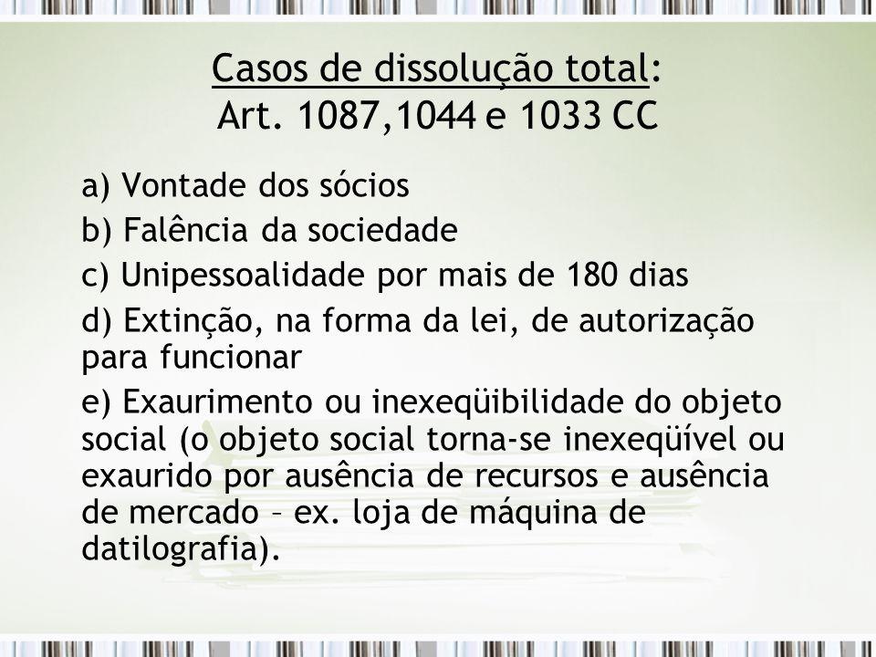Casos de dissolução total: Art. 1087,1044 e 1033 CC