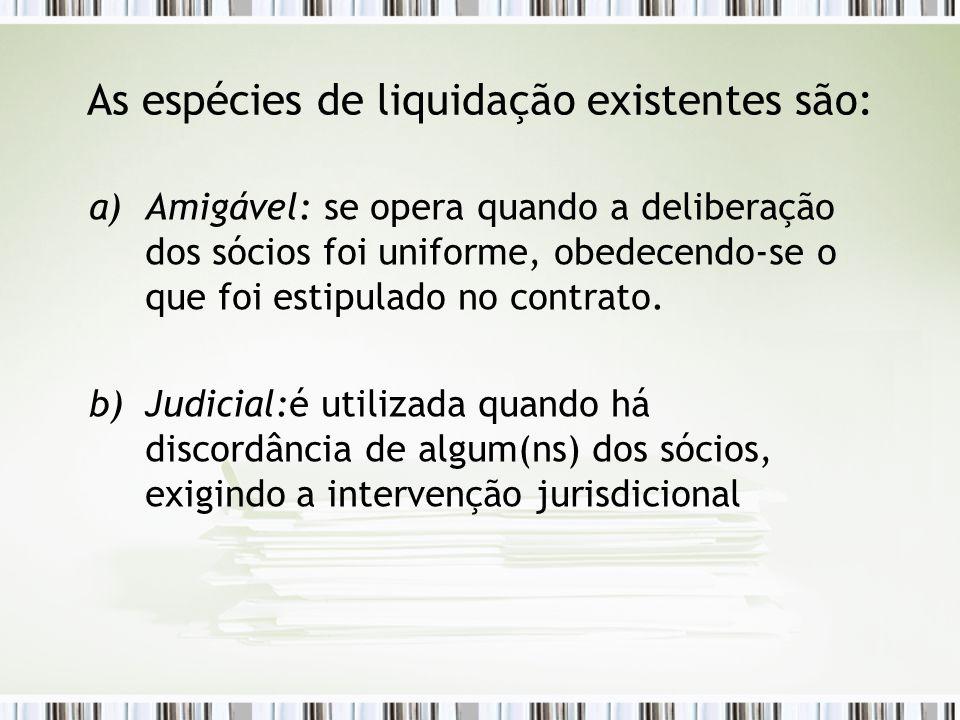 As espécies de liquidação existentes são: