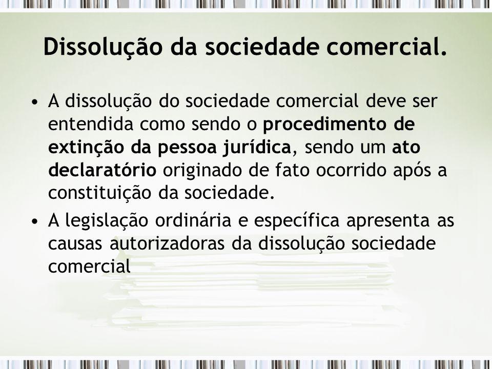 Dissolução da sociedade comercial.