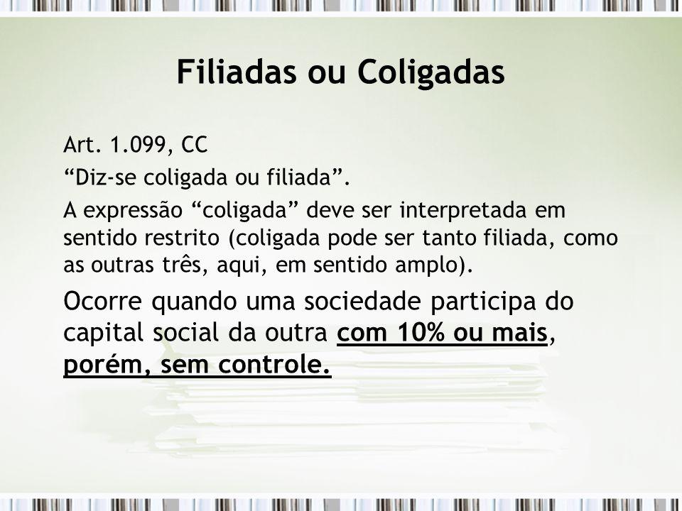 Filiadas ou Coligadas Art. 1.099, CC. Diz-se coligada ou filiada .
