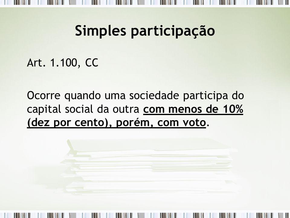 Simples participação Art. 1.100, CC