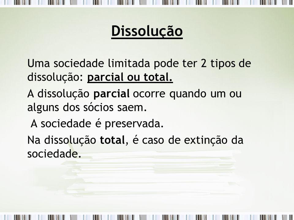 Dissolução Uma sociedade limitada pode ter 2 tipos de dissolução: parcial ou total. A dissolução parcial ocorre quando um ou alguns dos sócios saem.