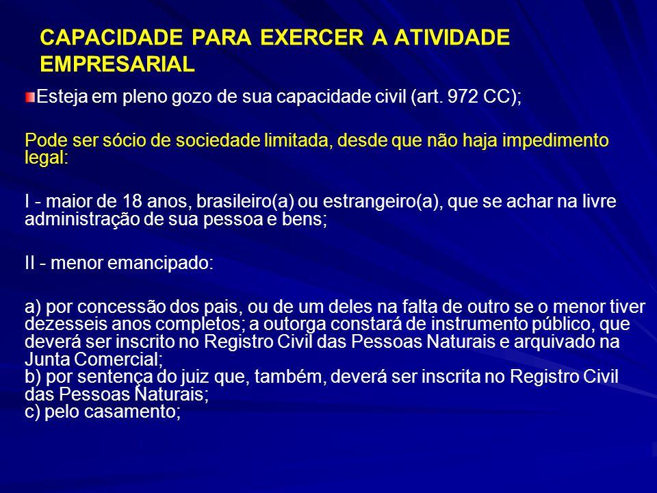 CAPACIDADE PARA EXERCER A ATIVIDADE EMPRESARIAL