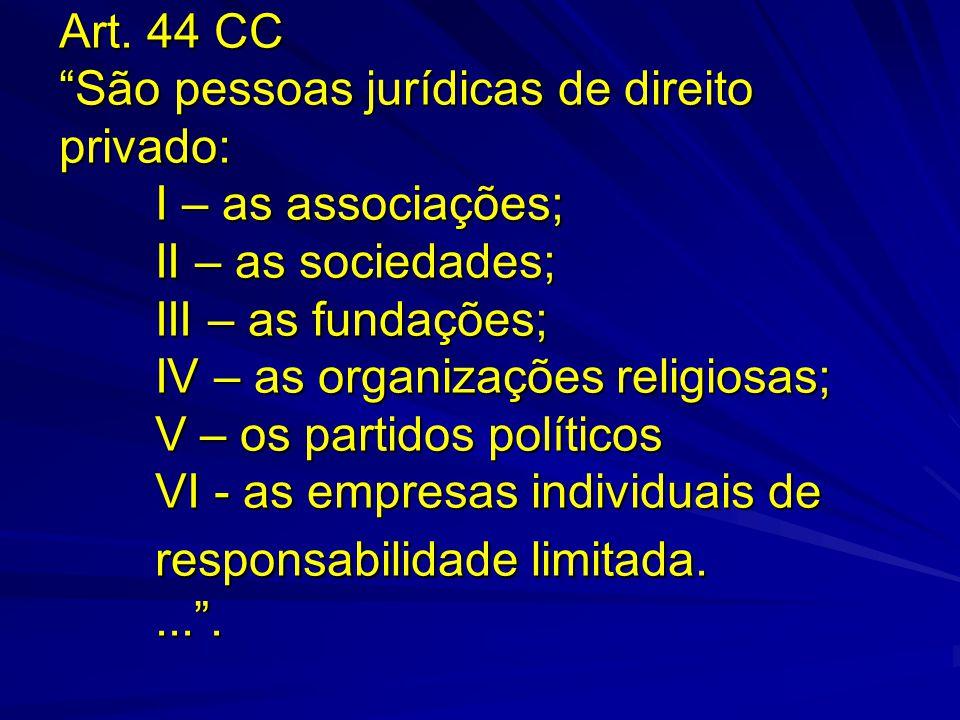 Art. 44 CC São pessoas jurídicas de direito privado: