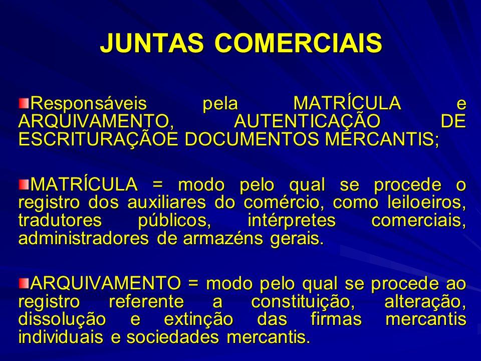 JUNTAS COMERCIAIS Responsáveis pela MATRÍCULA e ARQUIVAMENTO, AUTENTICAÇÃO DE ESCRITURAÇÃOE DOCUMENTOS MERCANTIS;