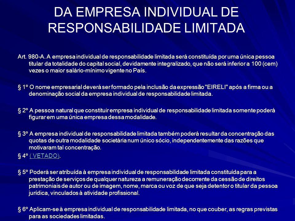 DA EMPRESA INDIVIDUAL DE RESPONSABILIDADE LIMITADA