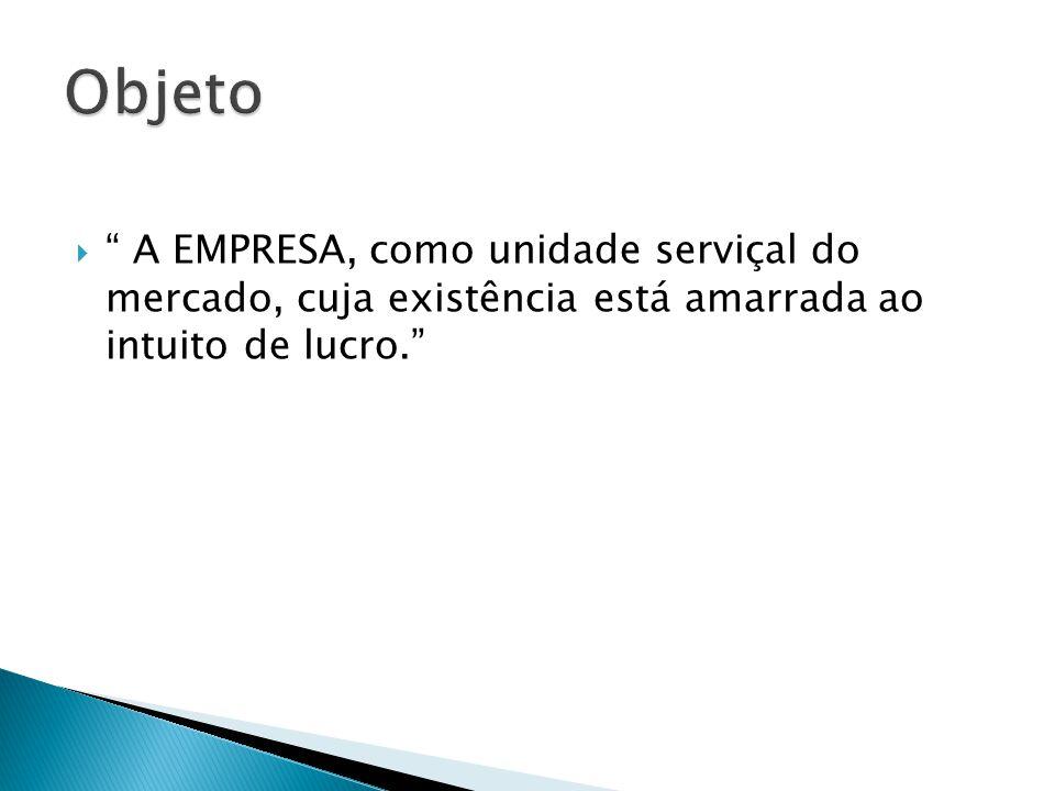 Objeto A EMPRESA, como unidade serviçal do mercado, cuja existência está amarrada ao intuito de lucro.
