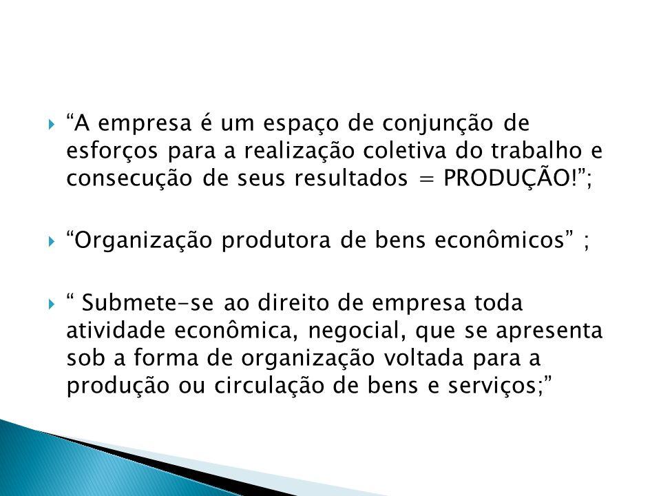 A empresa é um espaço de conjunção de esforços para a realização coletiva do trabalho e consecução de seus resultados = PRODUÇÃO! ;