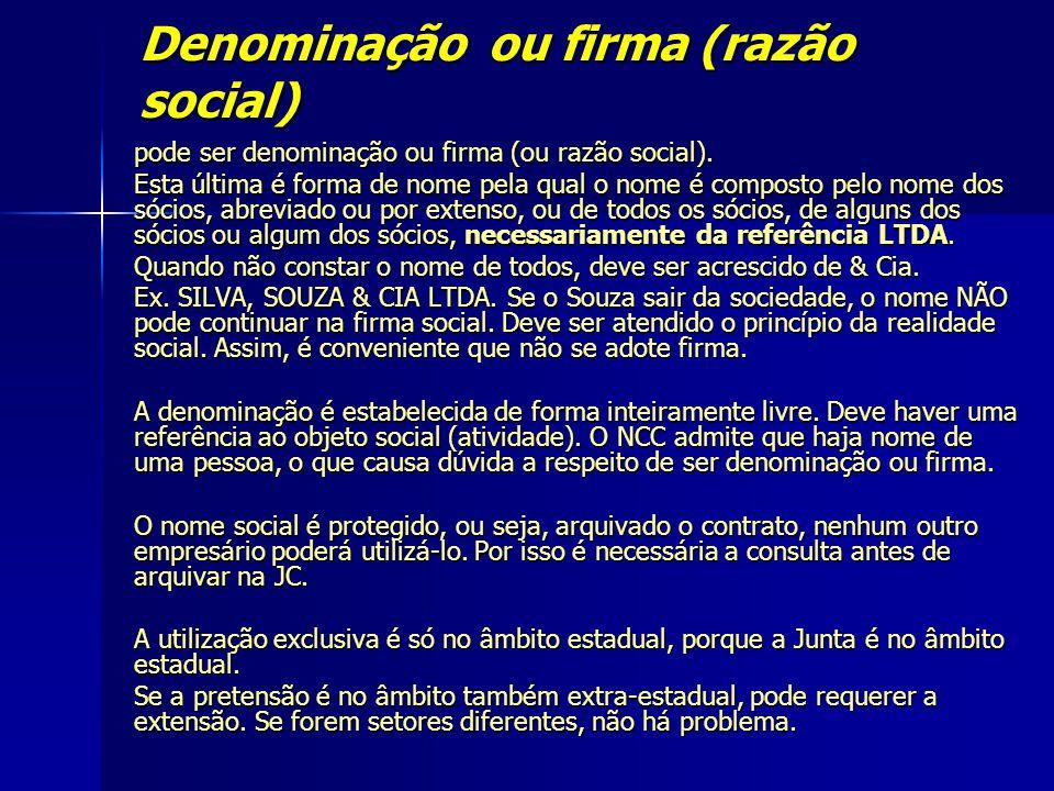 Denominação ou firma (razão social)