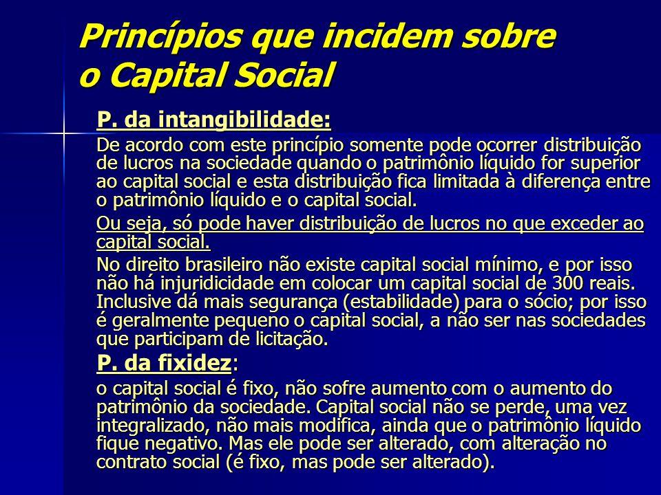 Princípios que incidem sobre o Capital Social